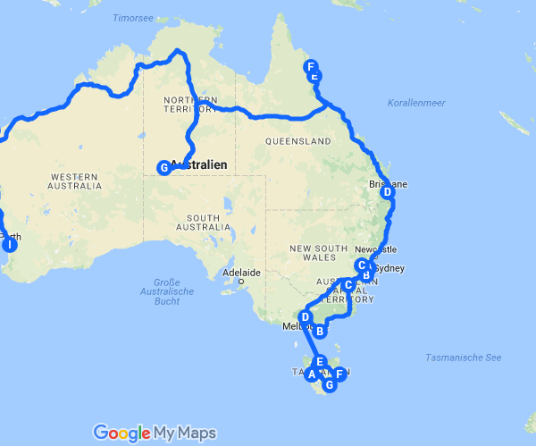 Unsere Route in Australien und Neuseeland 2017